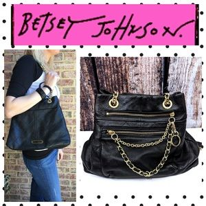 Betsey Johnson Black Leather Gold Chain Design Bag